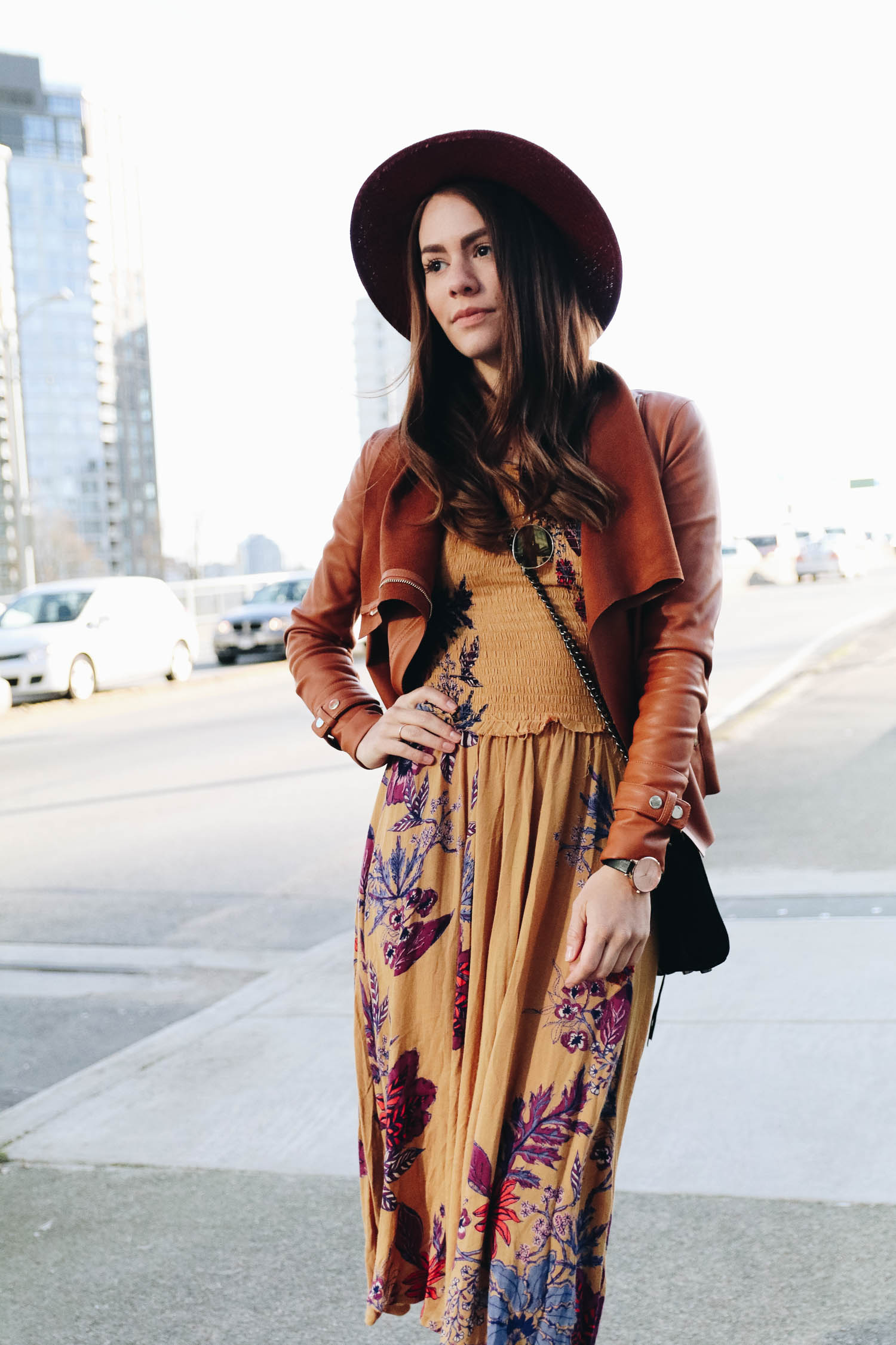 Wearing my floral dress and brown leather jacket in Vancouver