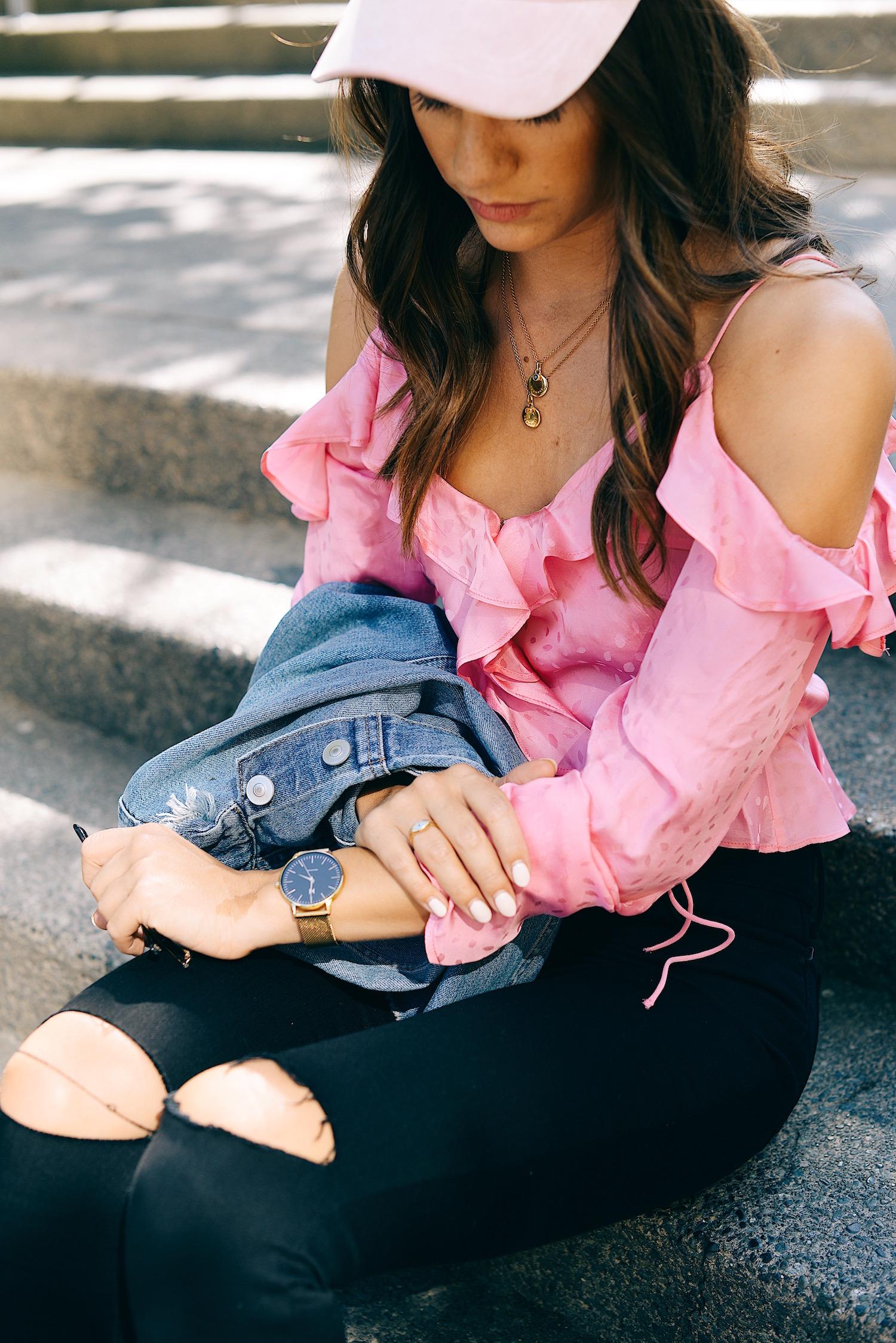 Pink H&M off the shoulder top