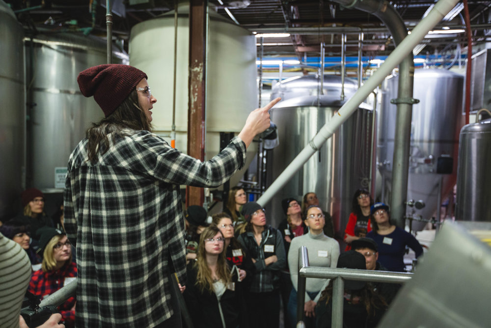 Riley Seitz Surly's Quality Manager describes the brewing process. Photo courtesy of Kurt Stafki of Surly Brewing Company