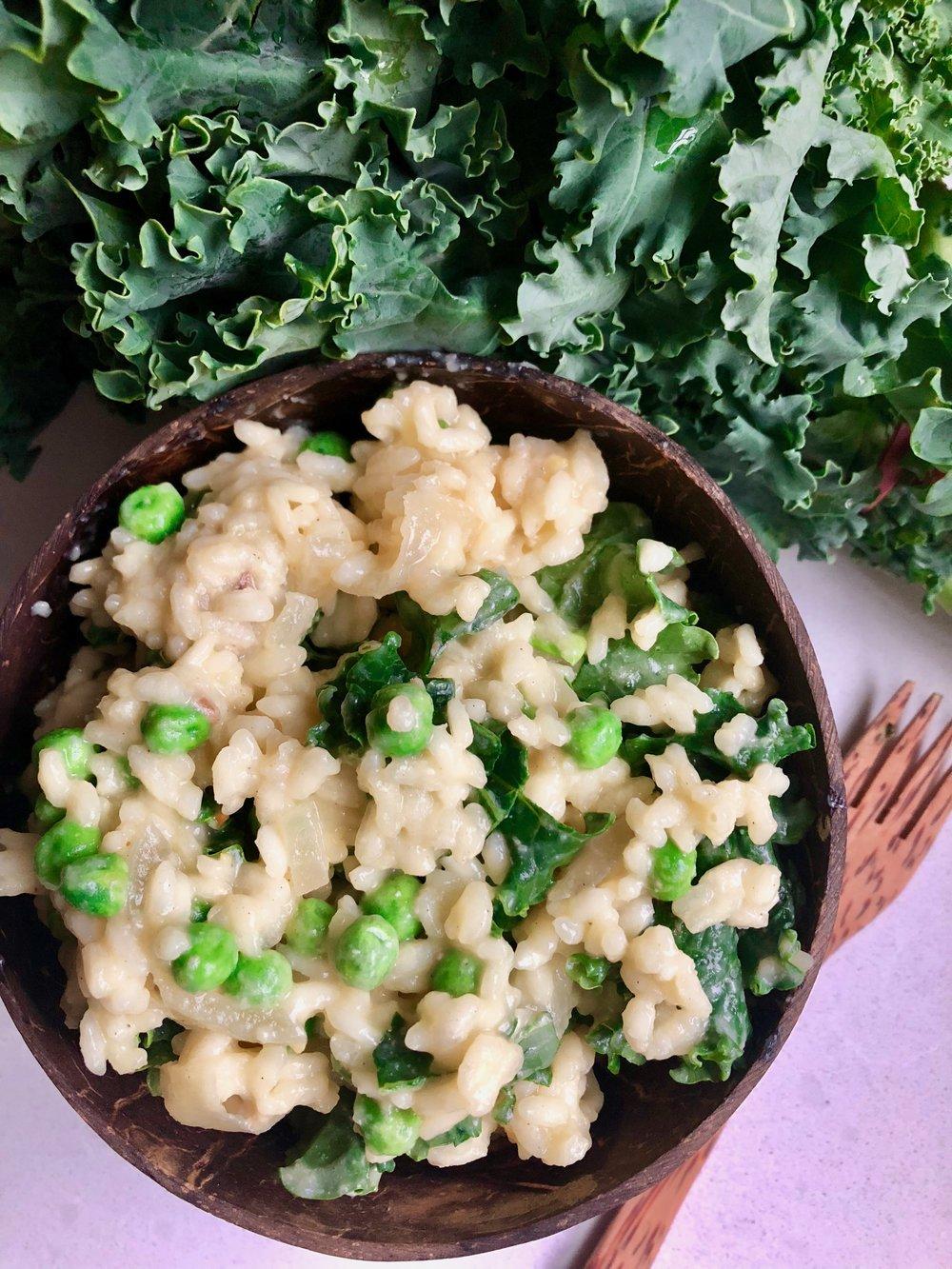Creamy Kale & Pea Risotto