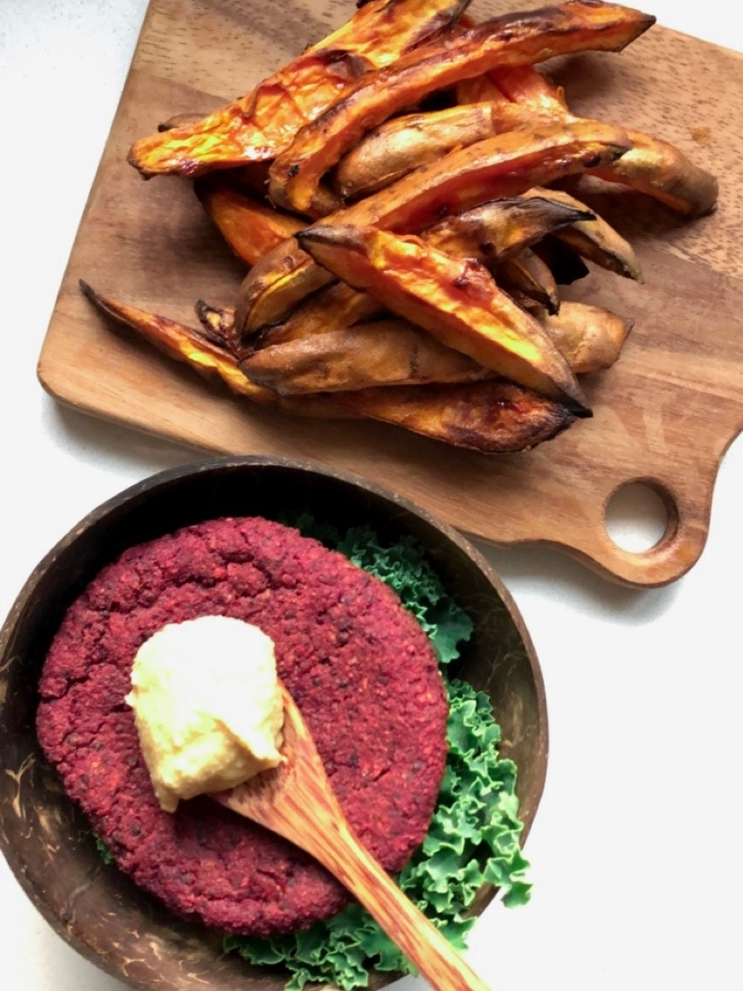 Smoky Beet & Sweet Potato Burger
