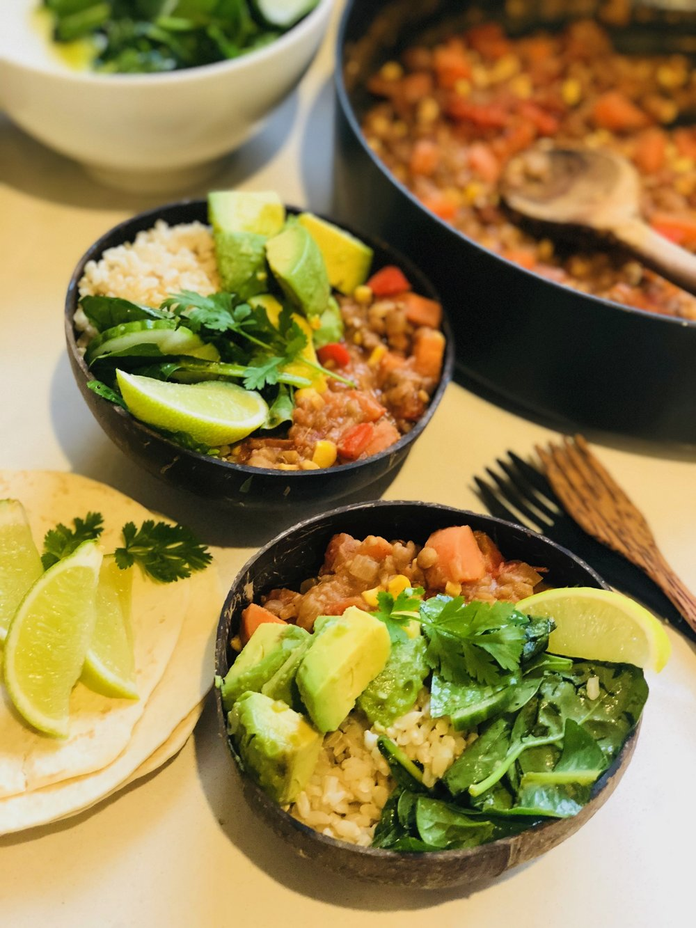 Mexican Lentil Chilli Bowl