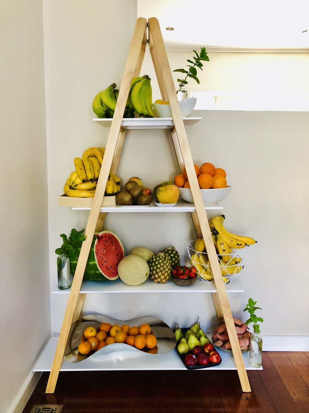 All the fruit and I keep it on display so it's accesible to Hunter