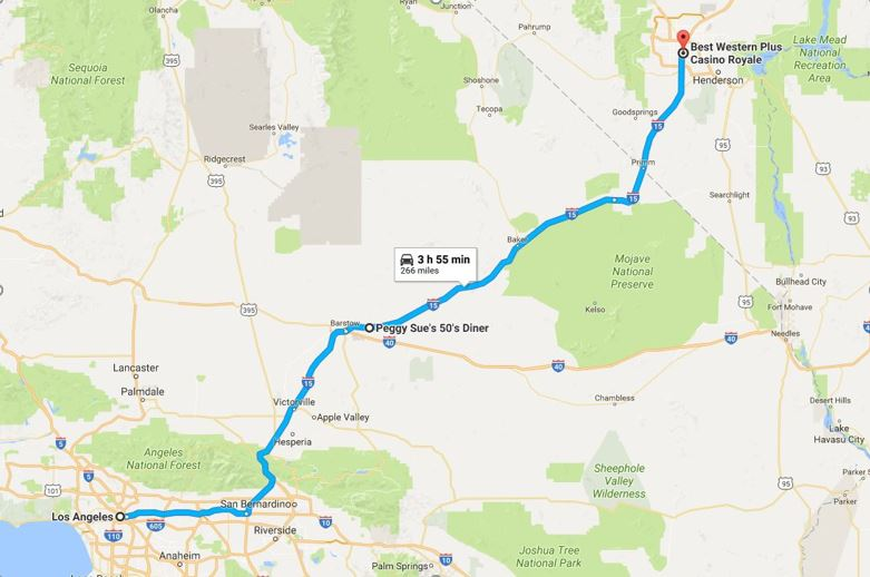 Phase one | Los Angeles to Las Vegas | 4 hours approx | 266 miles/428km