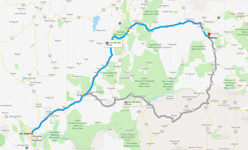 Las Vegas to Moab approximately 6 hours 30 minutes