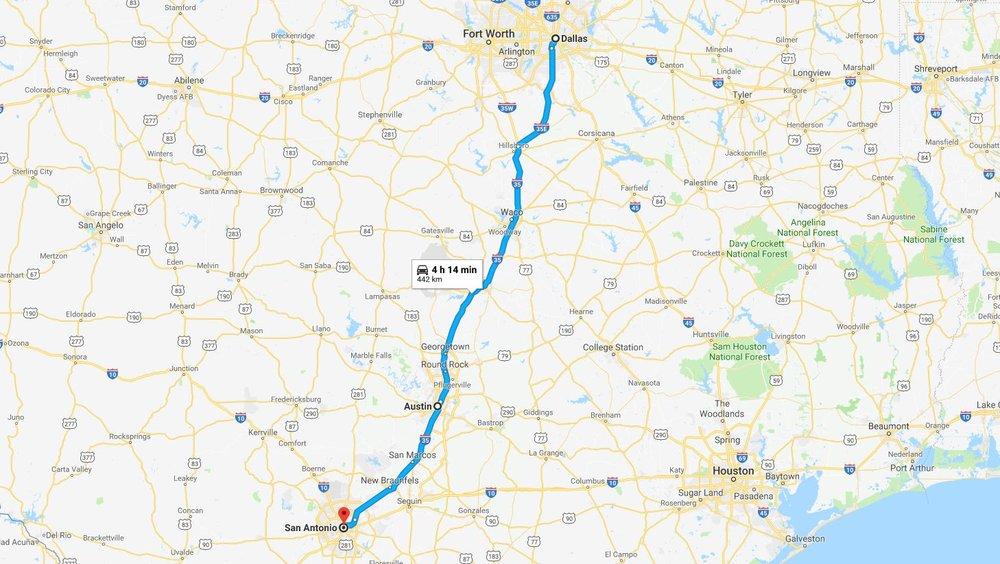 Dallas to Austin - three hours - Austin to San Antonio - one hour 30 minutes