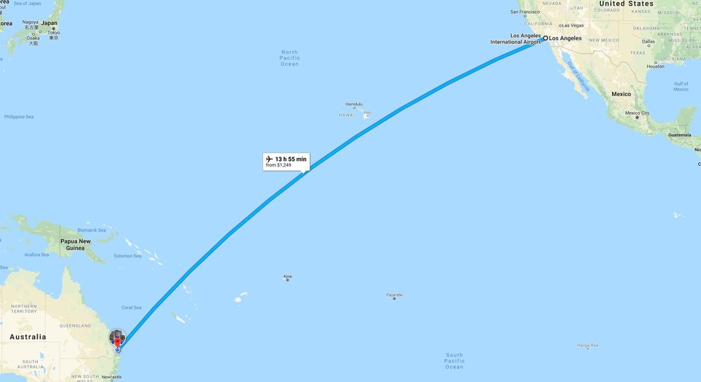 The last leg - USA to Australia - about 14 hours
