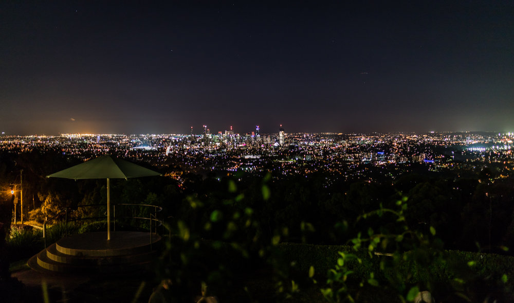 Brisbane Night Lights from Mt Cootha