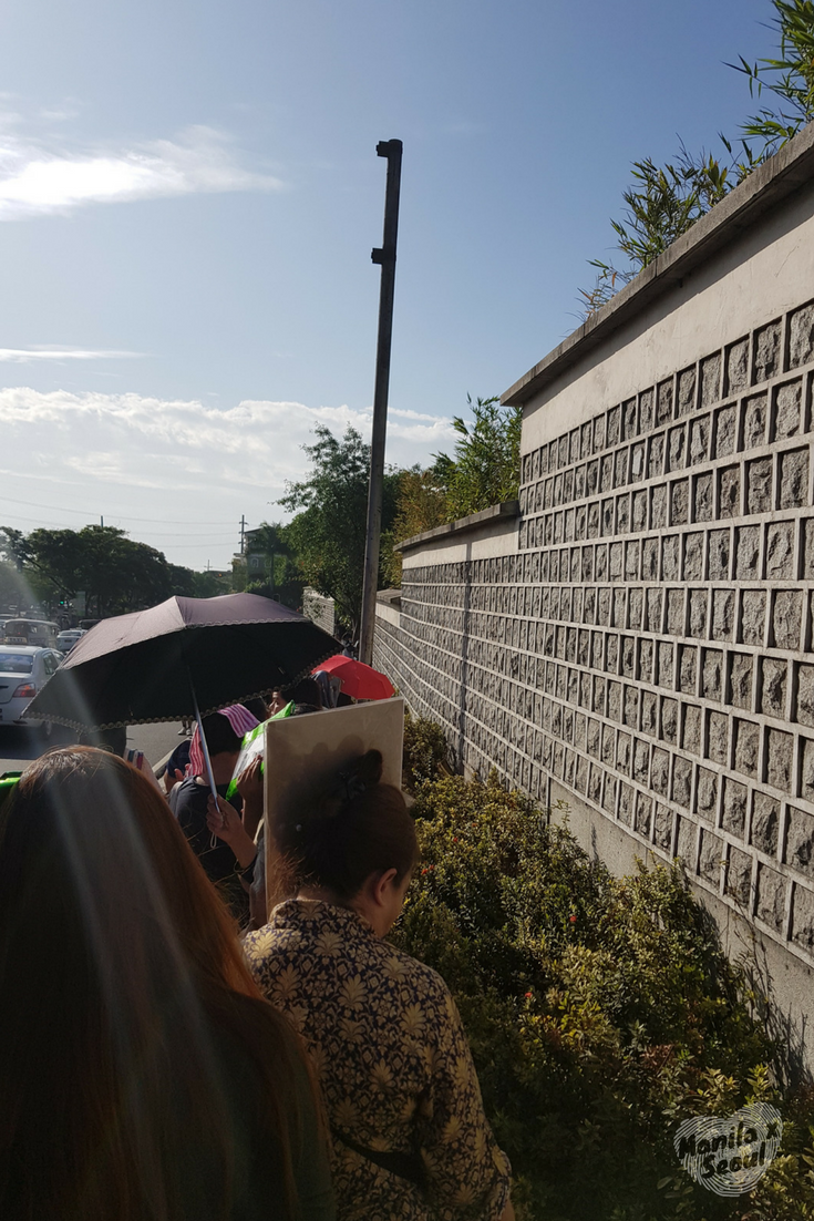 Queue outside the Embassy. Photo taken on April 02, 2018 at 7:30am.