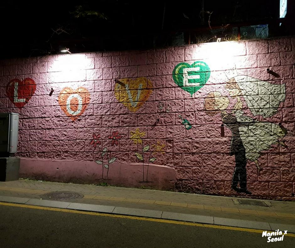 Mural across this hostel in Korea.
