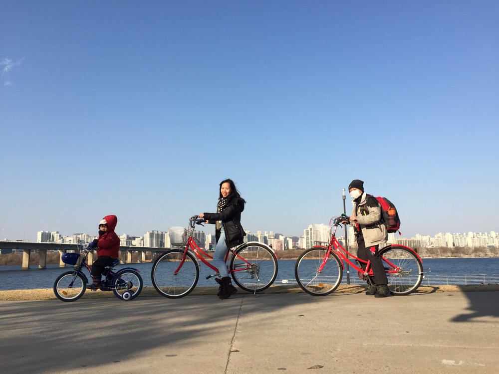 What to do in Seoul? Bike around Han River! Image credit: Mommastore