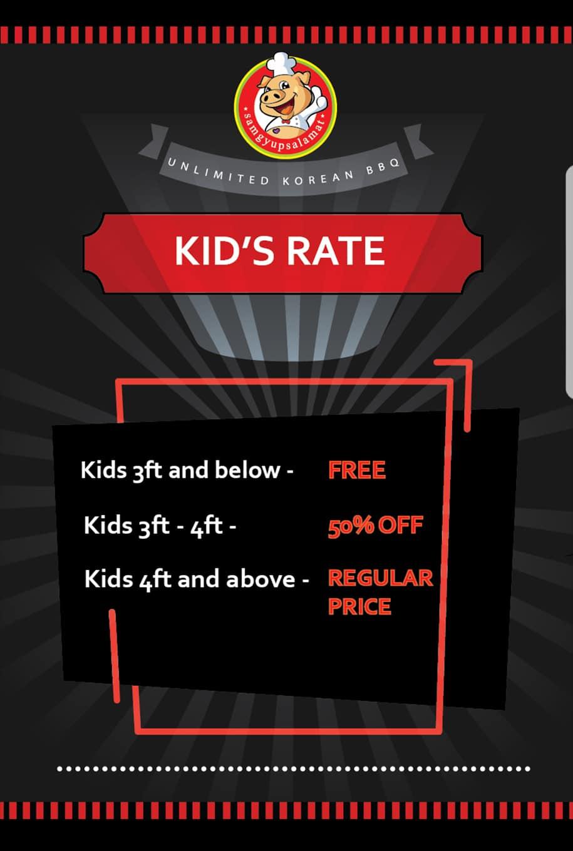 Samgyupsalamat's kid's rates. Image credit:  Samgyupsalamat - 삼겹살라맛