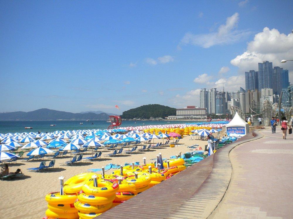 Haeundae beach in Busan, South Korea.