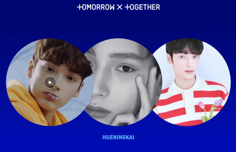 TXT's third member is Hueningkai. Screengrab from  TXT microsite