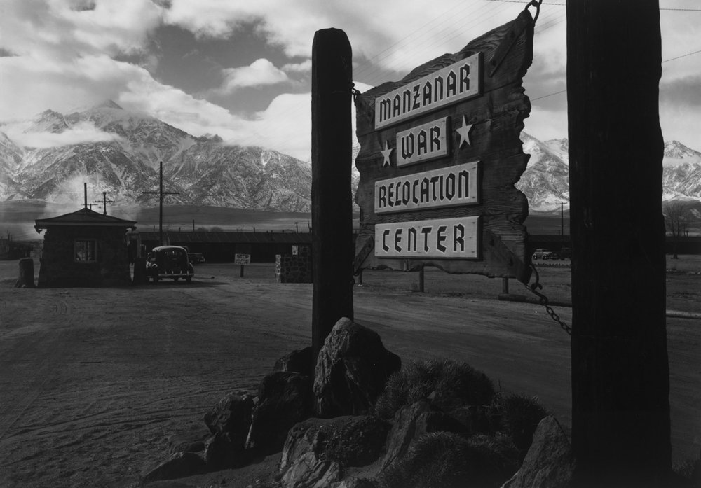 Copy of Entrance to Manzanar, Manzanar Relocation Center, 1943. Photos by Ansell Adams