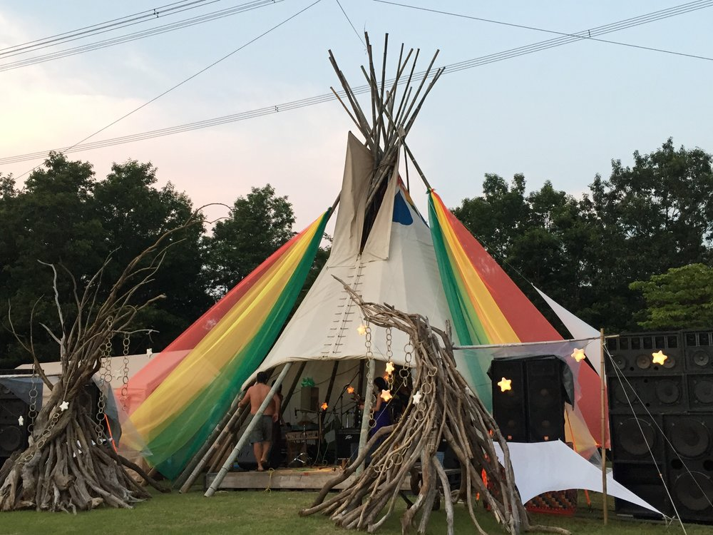 Teepee tent at One Love Peace Camp