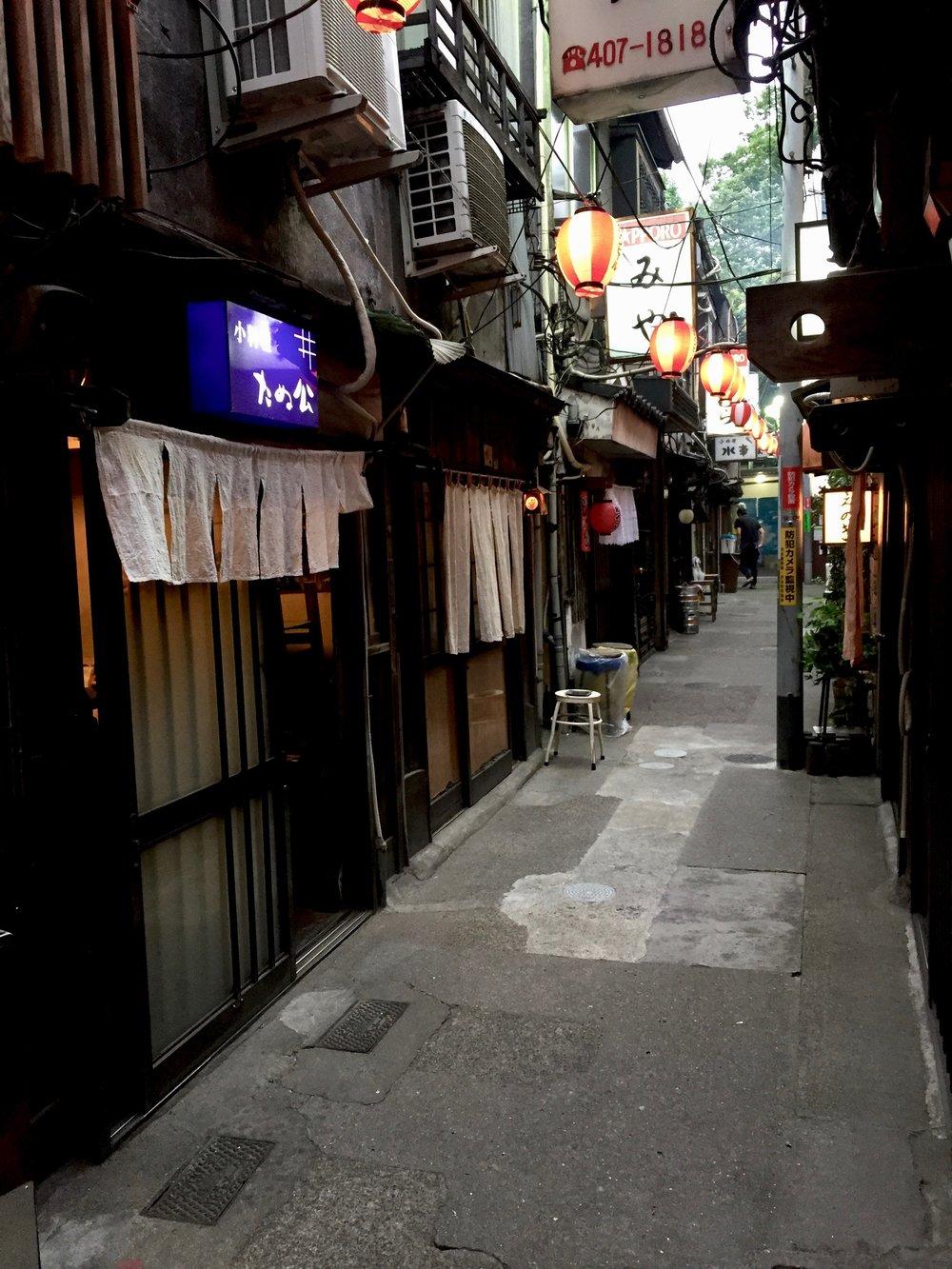 drinking alley nonbei yokocho in shibuya tokyo japan