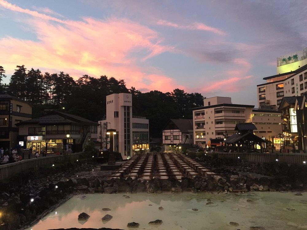 Kusatsu onsen sunset