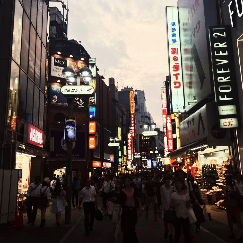 Shibuya street at sunset