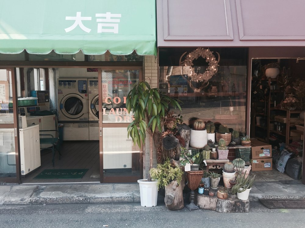 Plant shop and laundromat in Ebisu