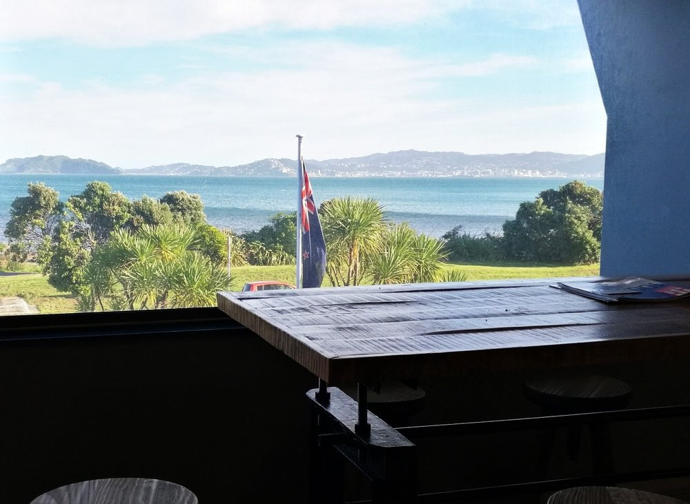 Our view from the Kitchen area over the Wellington Harbour