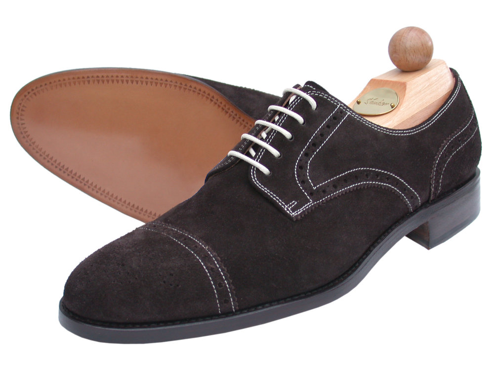 Semi-Brogue Kalbsvelours dunkelbraun