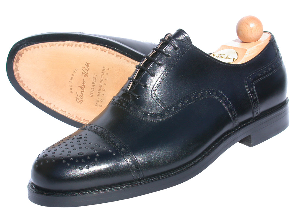 Semi-Brogue Oxford Boxcalf schwarz