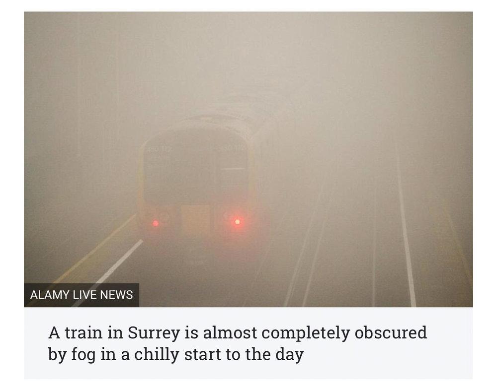 fog on railway in surrey