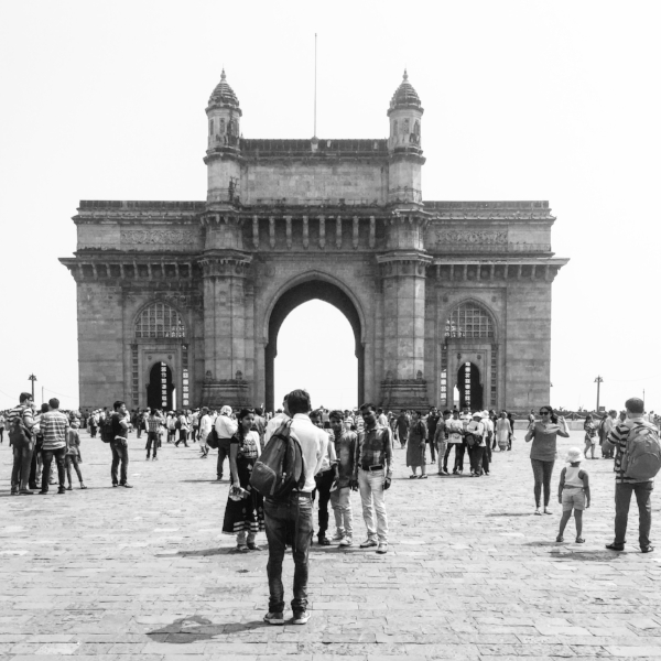 Gateway of India - a beautiful site at the most south end of the semi-island. Ships are taking tourists from here to the famous Elephanta Caves temples of Shiva in the Mumbai harbour.