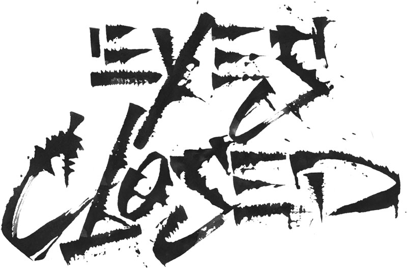 eyes closed lettering