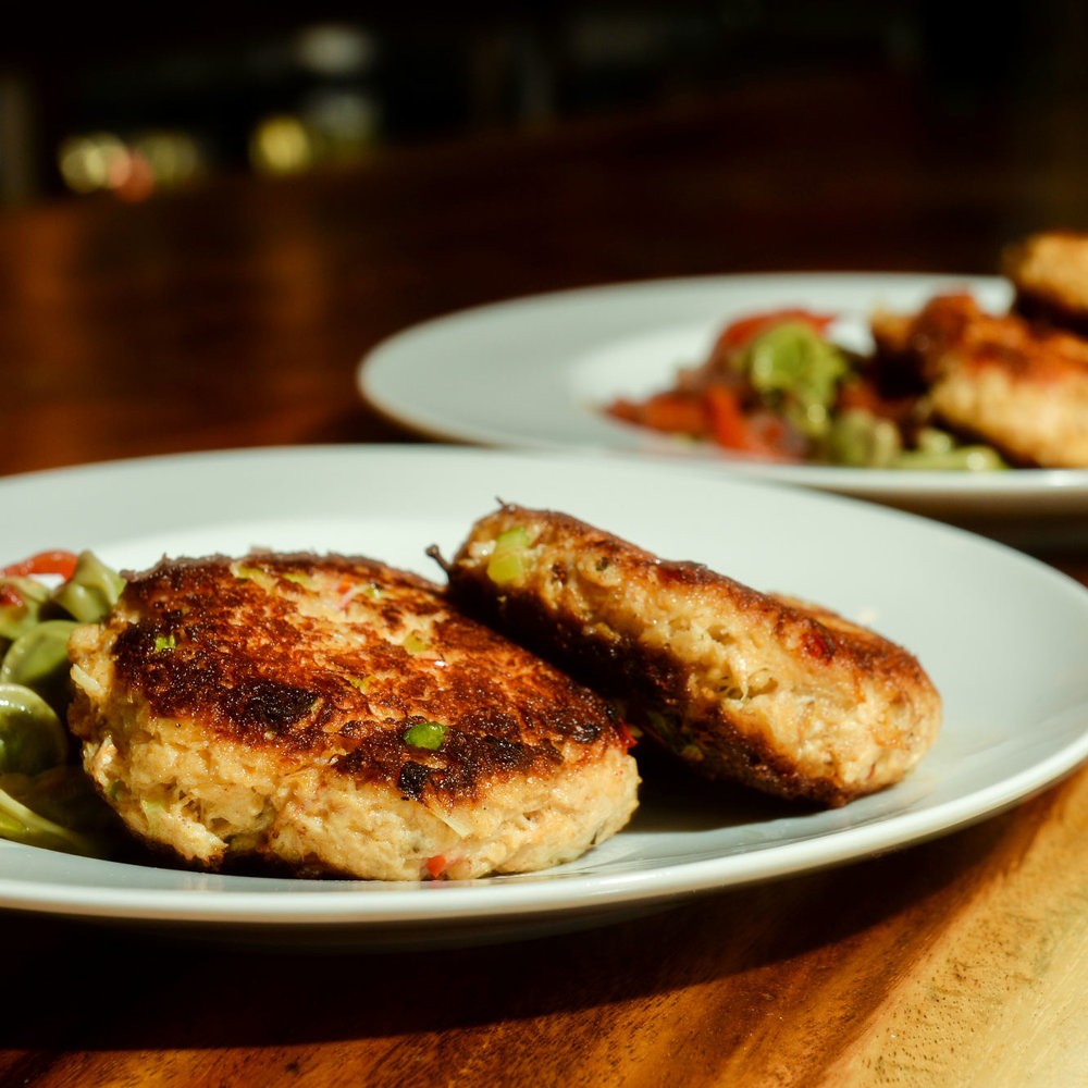 Maryland Crab Cakes - sriracha remoulade, fava been salsa