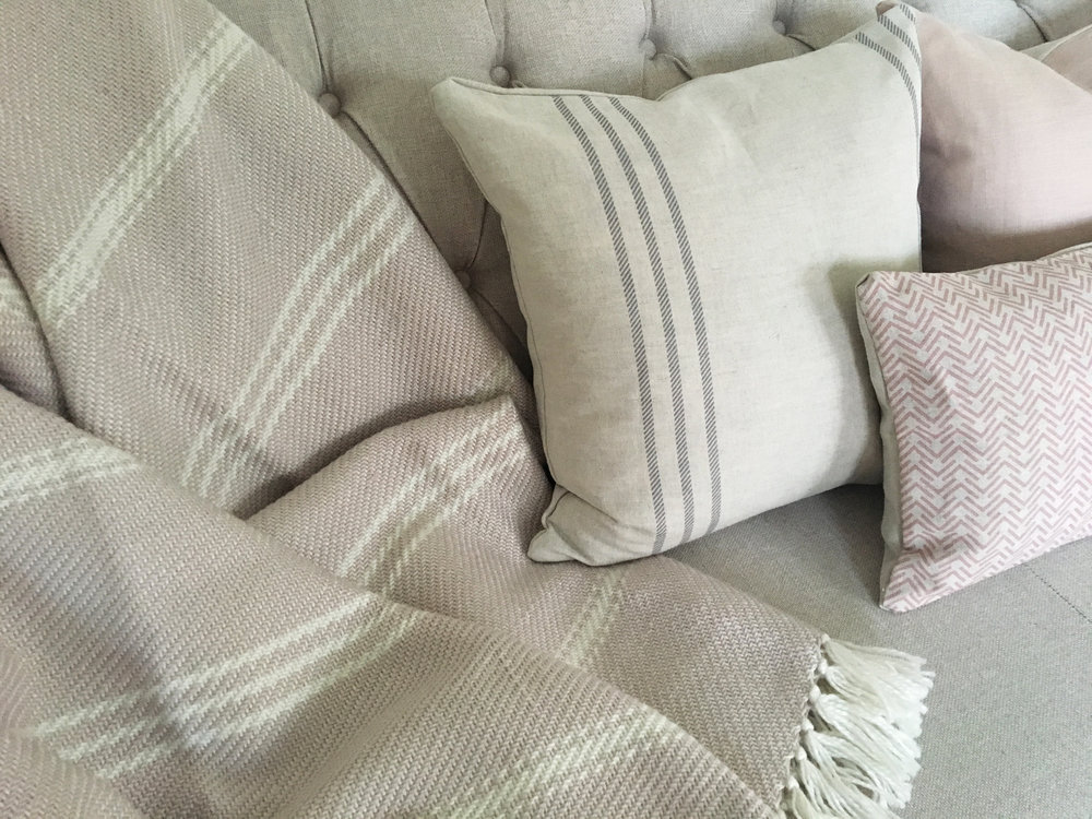 3. COMFORT - Let her relax into one of our comfy, soft duck feathered cushions. Featuring our Bronte Stripe Linen Square Cushion, Nancy Pink Rectangular Cushion and Oxford Stripe Shell Pink Throw.