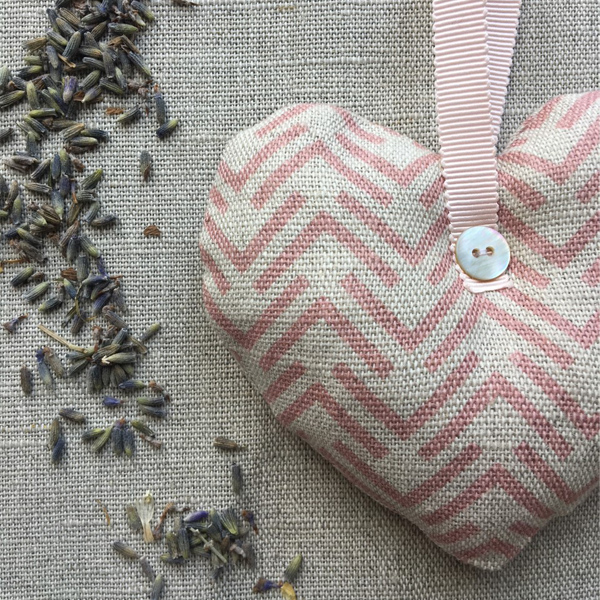 Lavender Filled Hanging Hearts - Nancy Pink Linen Heart