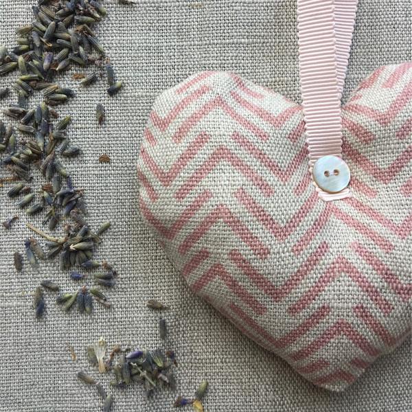 Lavender Filled Hanging Hearts - Nancy Pink Linen Heart