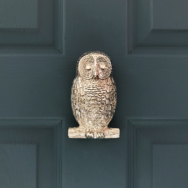 Owl - The wise Owl Door Knocker is cast in two parts, like the bee. The first being the back plate which is fasten to the door using two screws that come provided. The knocker can be attached from the front of the door, thus making it a really easy fixing.The second part of the knocker is the bulk of the owl which is hinged onto the back plate. The beautifully detailed owl can then be lifted up and used to strike against the back plate to create a real solid knock!The body of the owl door knocker does not lift up high enough to get a straight screw driver onto the screw, thus making the door knocker very hard to steal but also enabling the door knocker to be fitted without drilling through the door.Size: 140mm high x 75mm wide x 50mm projection.Boxed weight: 1kgAvailable In: Chrome, Nickel, Brass(Photo of Nickel Owl Door Knocker)