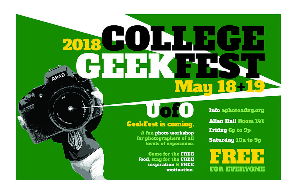 College Geekfest - We are bringing a slimmed-down version of APAD's annual GeekFest to universities across the land. Much like when we first started meeting up in 2001, COLLEGE GEEKFEST features an old school shootout (with prizes!), along with inspirational presentations by fun professionals in the visual world. The best part? It's free for all - student and professional alike. Next stop: the University of Oregon.