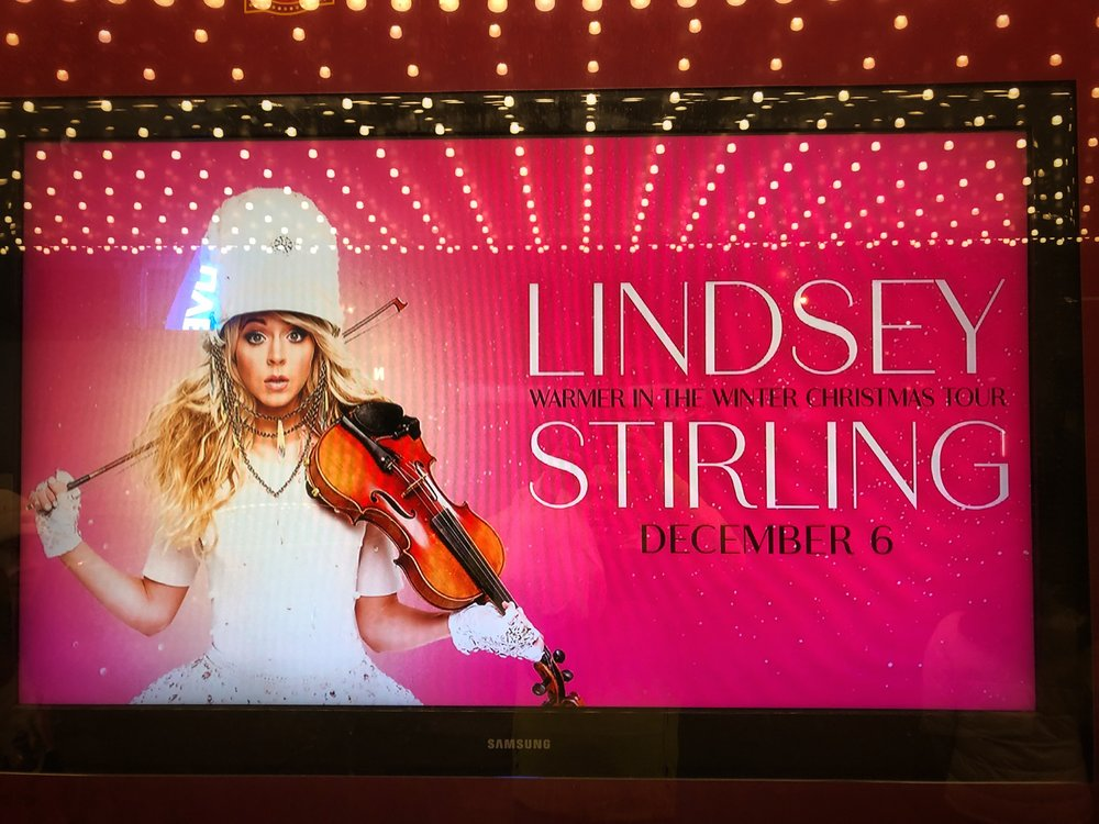 A display of Lindsey, just outside of the theatre