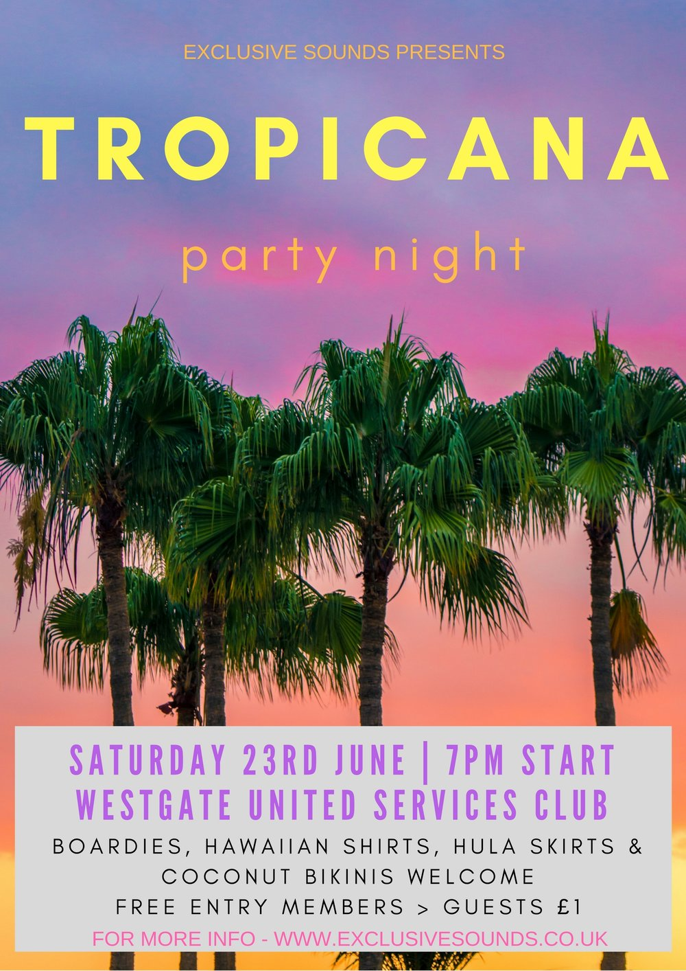 Tropicana Party Night > Westgate United Services Club, 23rd June 2018 - 7pm