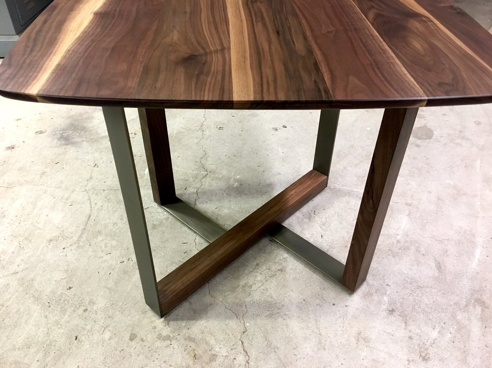 This Small Table Is Made Of Solid Oil Finished Walnut And Antique Bronze  Finished Cold Rolled Steel. It Was Designed And Built As A Commission For  Oeno ...