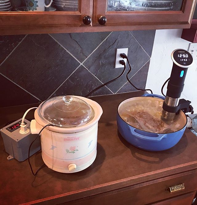Today, we're pitting our homemade crockpot #sousvide setup against the Anova precision cooker. What do you think? Will our homemade version stand up to the real deal with a couple of New York steaks? Results to come... brought to you by Abilene Depot Salt & Pepper Upgrade blend.