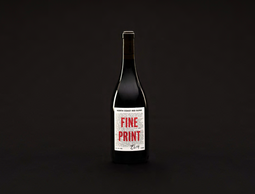 Fine Print   Syrah Blend  Northern California Coast, 2014  Barrel-aged for 24 months, the first 10 months in stainless steel. The Syrah lends a texture, depth and body to the wine, while the Pinot brings bright, red cranberry notes to the palate  ALC 13.5% Vol