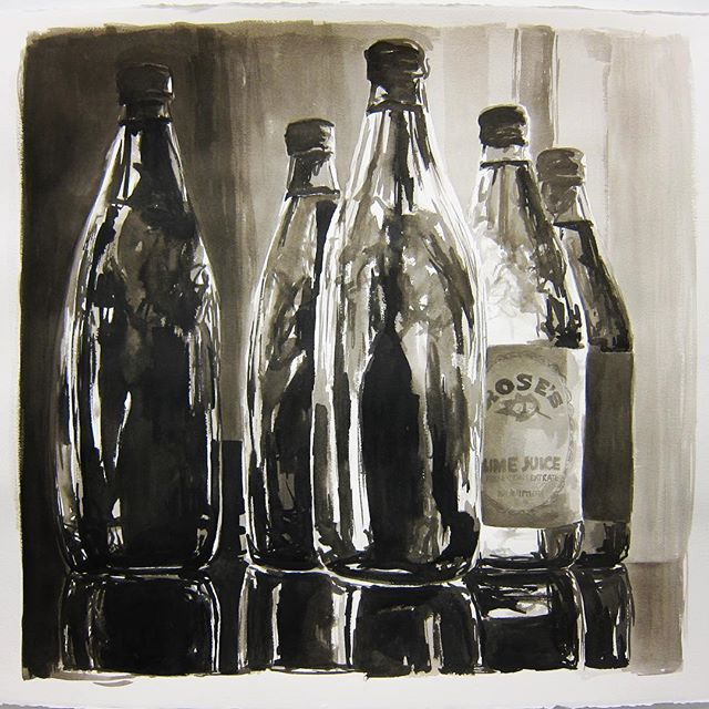 """Robyn Cooper Art Throwback Thursday. Its a thing...Im making it a thing // Rose's Lime Juice, India Ink on paper 20"""" x 20"""" #RCAthrowbackthursday #robyncooperart"""