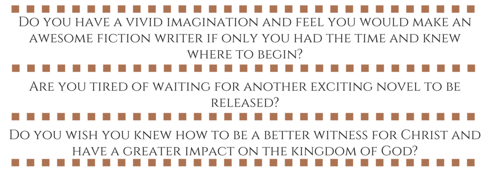 Do you have a vivid imagination and feel you would make an awesome fiction writer if only you had the time and knew where to begin?Are you tired of waiting for another exciting novel to be released?Do you wish you kn-2.png