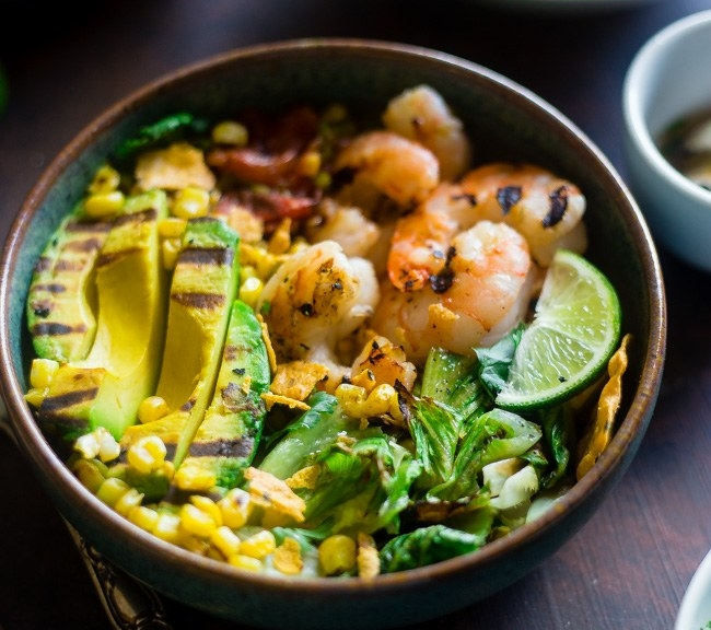 Honey lime shrimp avocado bowl