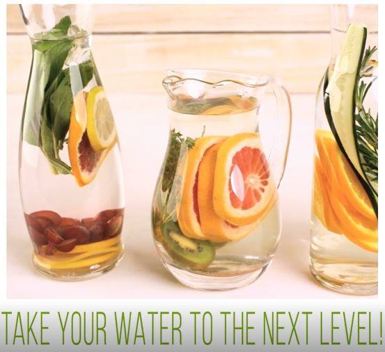 Day 5 - If you're having a hard time getting all of your water every day, think green. Try adding some colour (and some flavour) and make it a treat. Combine ½-¾ gallon of fresh water, 2-3 thinly sliced lemons, 1 sliced cucumber, and 10-15 mint leaves in a pitcher. Let the ingredients steep for a couple hours and then enjoy. Discard the remainder after 24 hours. Combine ½ gallon of fresh water, 1 wedged lime, 1 sliced cucumber, 2 inches fresh, peeled ginger root, and 10 mint leaves in a pitcher. Let the ingredients steep for a couple hours and then enjoy. Discard the remainder after 24 hours. Combine ½ gallon of fresh water 1 peeled and sliced kiwi, 4 hulled and sliced strawberries, and 10 mint leaves in a pitcher. Let the ingredients steep for a couple hours and then enjoy. Discard the remainder after 24 hours.Keep drinking that delicious water all day long!!Happy Friday!! Keep on tracking!!