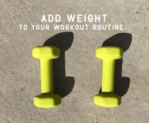 Day 11 - This is a great tip today! I would be happy to help you get started with weights. In fact I have a huge workout room in my basement. Come on over and I can show you a few things to do that you can do at home. Let's get those arms and legs stronger :)It might seem a little backward, but adding weights to your workout routine can actually help you shed stubborn pounds. And that's just one of the benefits. Adding some moderate strength training may help increase bone density, maintain a positive muscle mass, and you'll actually see results faster than with cardio alone. And, if you don't have access to dumbbells, the great thing is the world is your gym. You can use the cans and jars in your pantry, old milk jugs filled with water, or even your kids. The options are limitless.