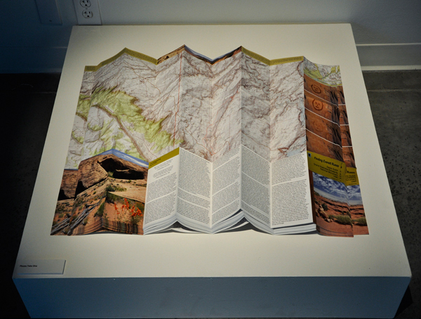 Illustrated map stacked in the Faculty Exhibition, Katherine E. Nash Gallery, University of Minnesota, October 22 to December 14, 2013.