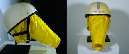 Focus Bonnet for Nature Walk or Nature Run  (side and front views), 1996, helmet, water-resistant nylon, wire, Velcro, 14 by 18 by 10 inches.