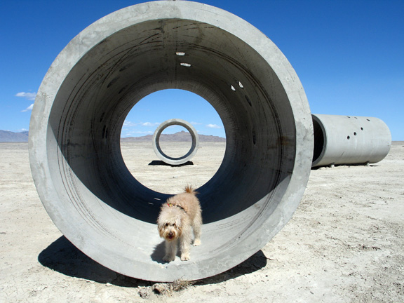 Nancy Holt,  Sun Tunnels,  1973-76, Great Basin Desert, Utah, concrete, steel, and earth. Photo by Jan Estep.