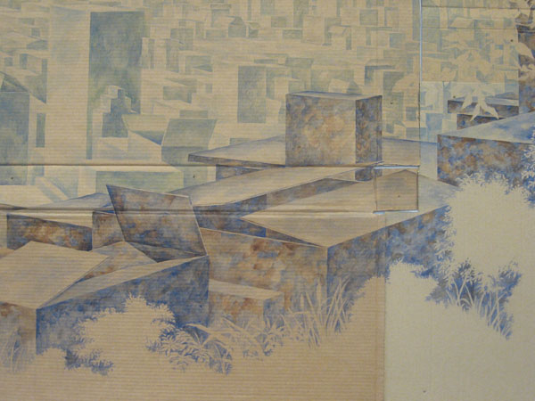 David Lefkowitz, detail of  Vista , 2008, watercolor on cardboard.